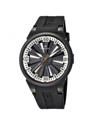 PERRELET TURBINE BLACK DIAL  BLACK RUBBER AUTOMATIC MEN'S WATCH