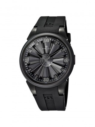 PERRELET TURBINE BLACK DIAL RUBBER STRAP MEN'S AUTOMATIC WATCH