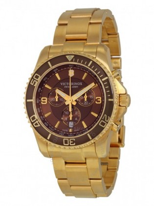 VICTORINOX SWISS ARMY MAVERICK BROWN DAIL GOLD PVD MEN'S WATCH