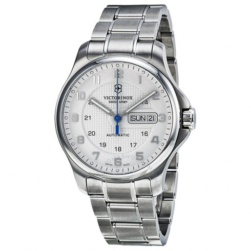 VICTORINOX SWISS ARMY STEEL OFFICERS AUTOMATIC WHITE DIAL MEN'S WATCH